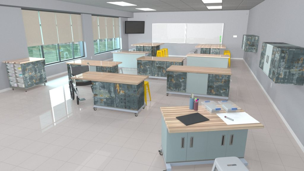 The Chameleon Classroom System shown in a middle school setting.