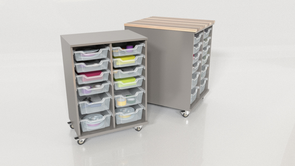 CEF Chameleon Hideaway Single and Double Storage Carts in Northsea Grey